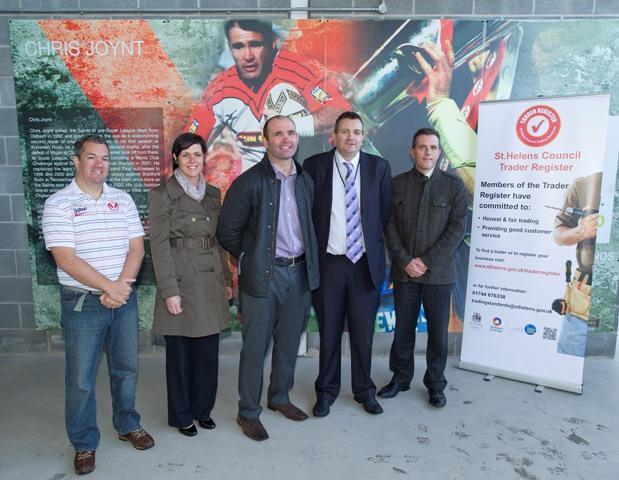 Great reputation….Chris Joynt (centre) with (left to right) Saints general manager Mike Rush; Nicola Donovan, consumer protection officer; Councillor Richard McCauley, and Darrell Wilson, chief trading standards officer.