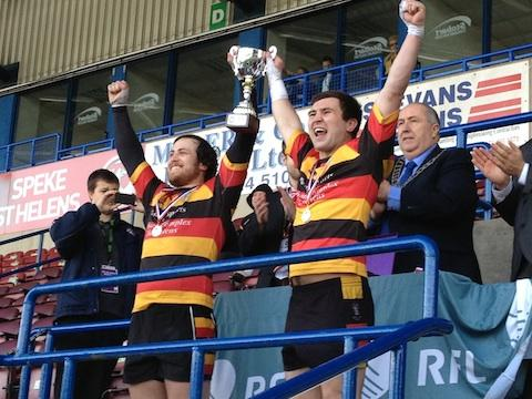 CHAMPIONS: Jamie Smith and Mark Ashton lift the Grand Final trophy at the Stobart Stadium. Picture by AM Kivlin.