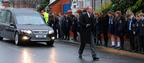 De La Salle pupils lined the streets for the funeral of Brother Alban