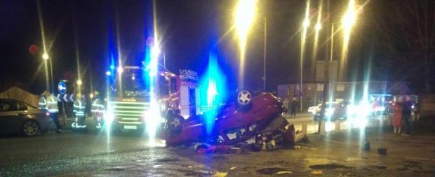 This picture taken by a Star reader shows the overturned car at the Bull and Dog roundabout.