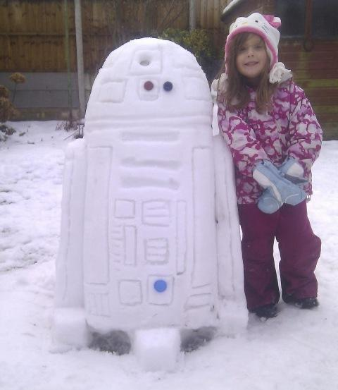 Chris Birkett sent us this image of a Star Wars style R2 D2 robot alongside one proud youngster