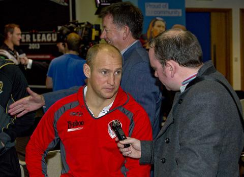 Nathan Brown faces the media at Monday's Super League launch. Picture by Bernard Platt.