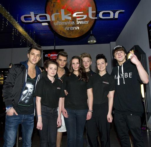 Pictured here with Darkstar staff, are the lads from Union J and District 3