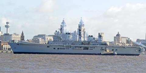 Hundreds turn out to welcome HMS Illustrious to the River Mersey