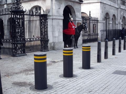 The high-security bollards in action on Horse Guards Parade in London