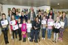 THE Mayor of St Helens, Councillor Geoff Almond, with some of the artists
