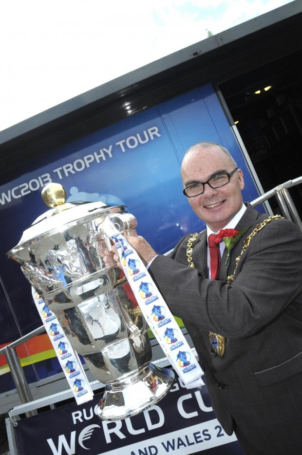 St Helens Star: PICTURES: Rugby League World Cup trophy visits St Helens as countdown to Aussie visit gathers pace