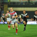 St Helens Star: Adam Swift races away for a try