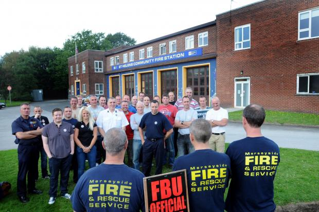 Fire crews pictured on strike earlier this year