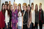 Role model: Diana Mather with St Helens College students