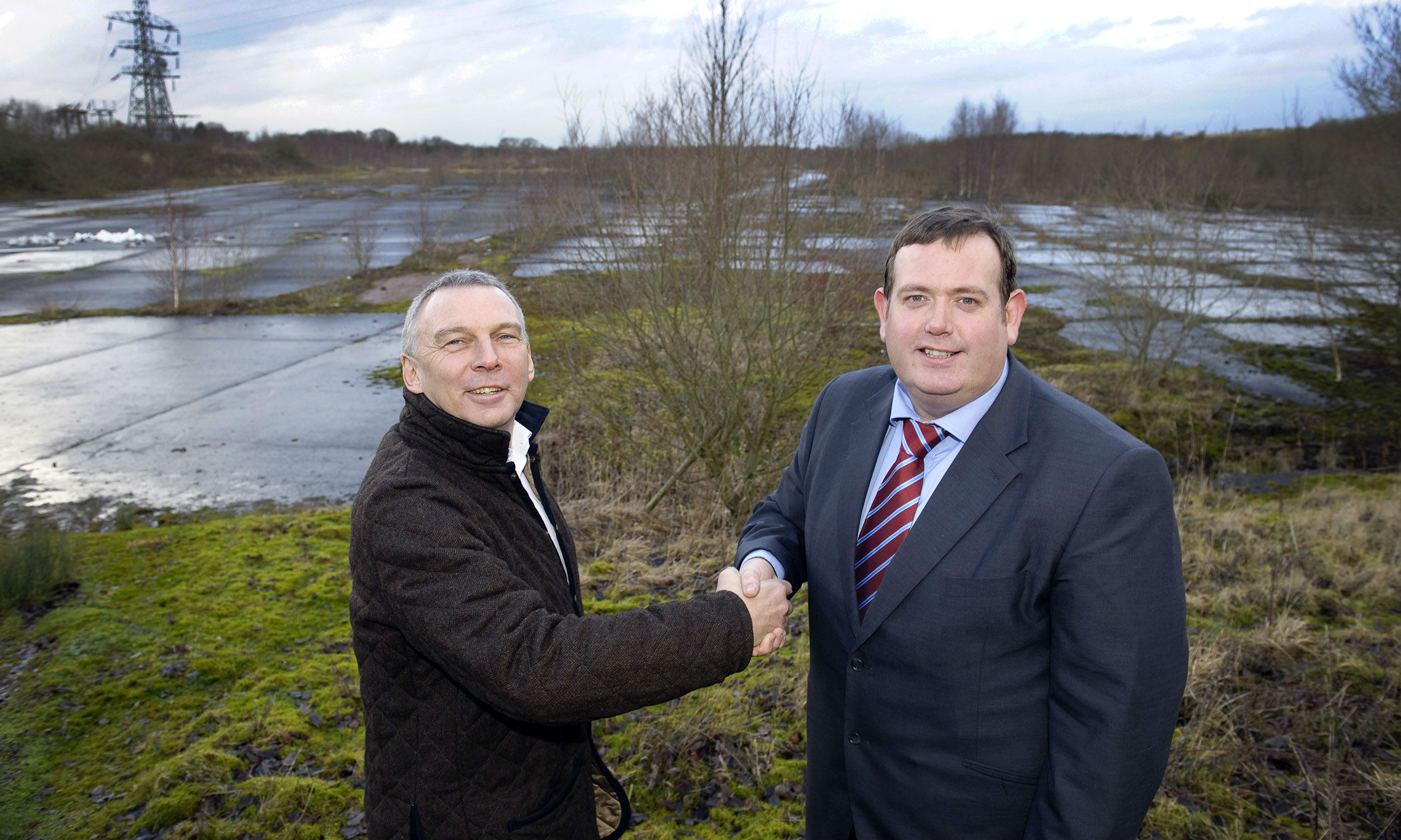 Council leader Barrie Grunewald (right) with Langtree chief executive John Downes at the Parkside site