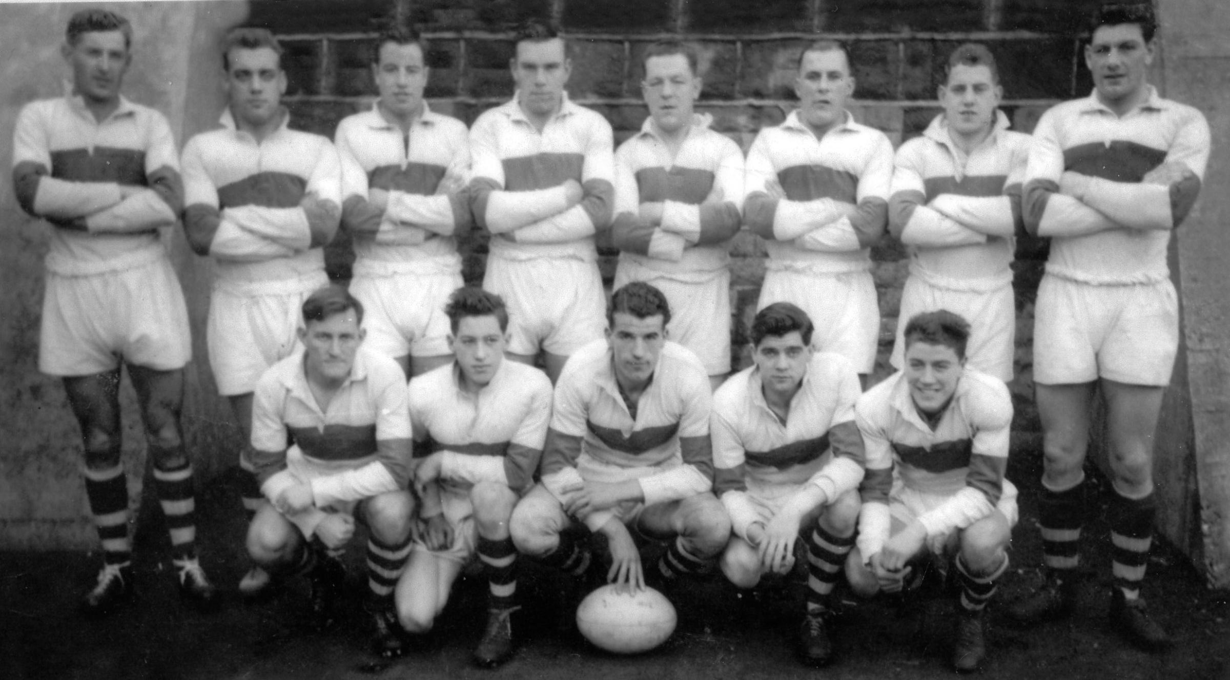 Doug Holland extreme right, back row, is pictured with Saints' all-conquering 'A' team that in 1952-3 did the double winning the Lancashire Combination Cup and Shield. Full caption below