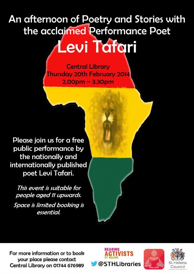 St Helens Star: Levi Tafari to perform at Central Library