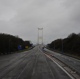 The M48 motorway and the Severn Bridge going across the Bristol Channel from England to Wales is devoid of cars and lorries