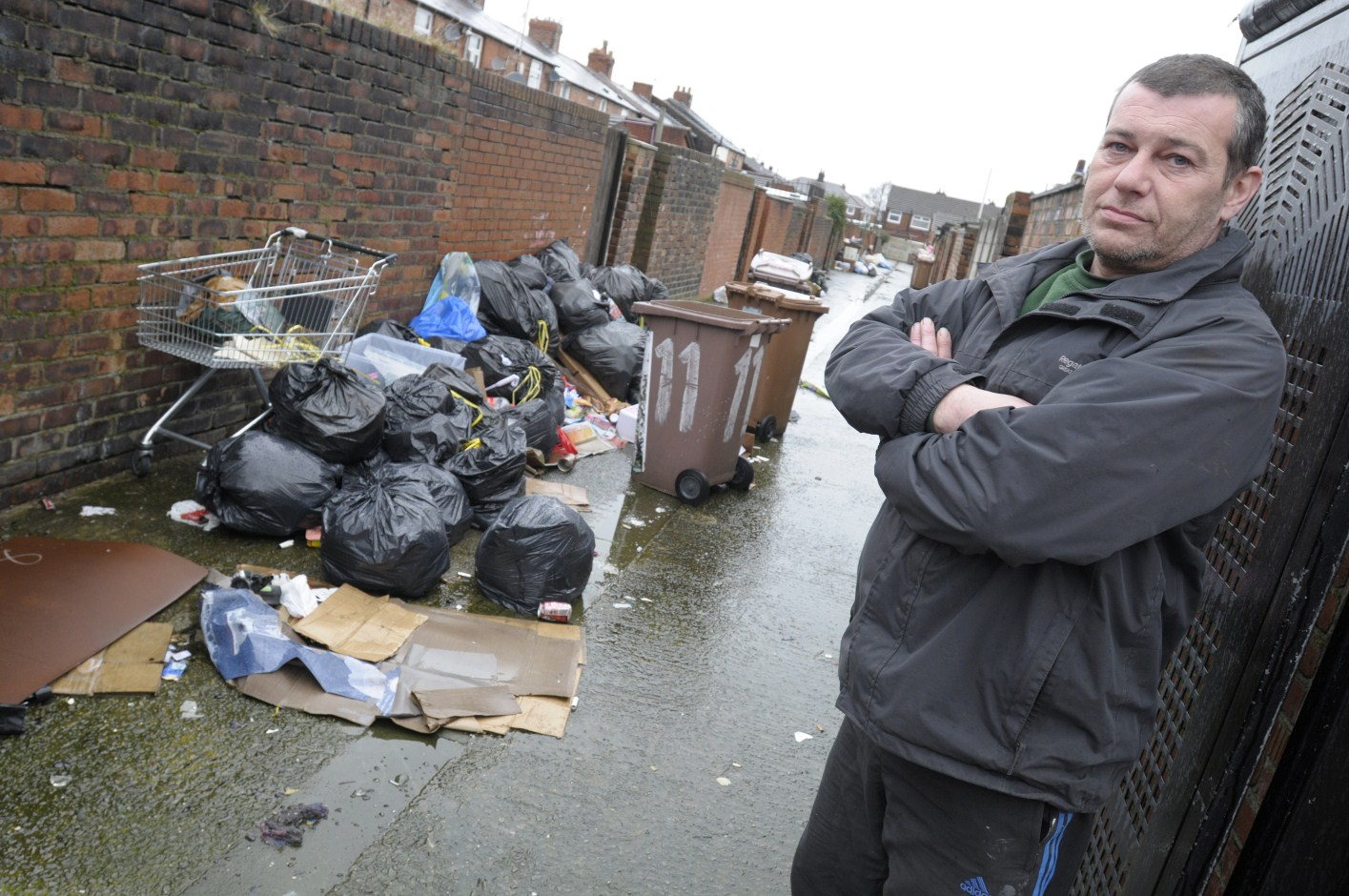 Builder Steve Davies was overcome by stench from rubbish.