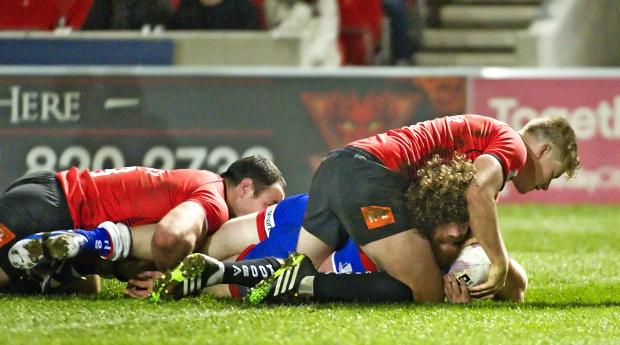 St Helens Star: Kyle Amor touches down