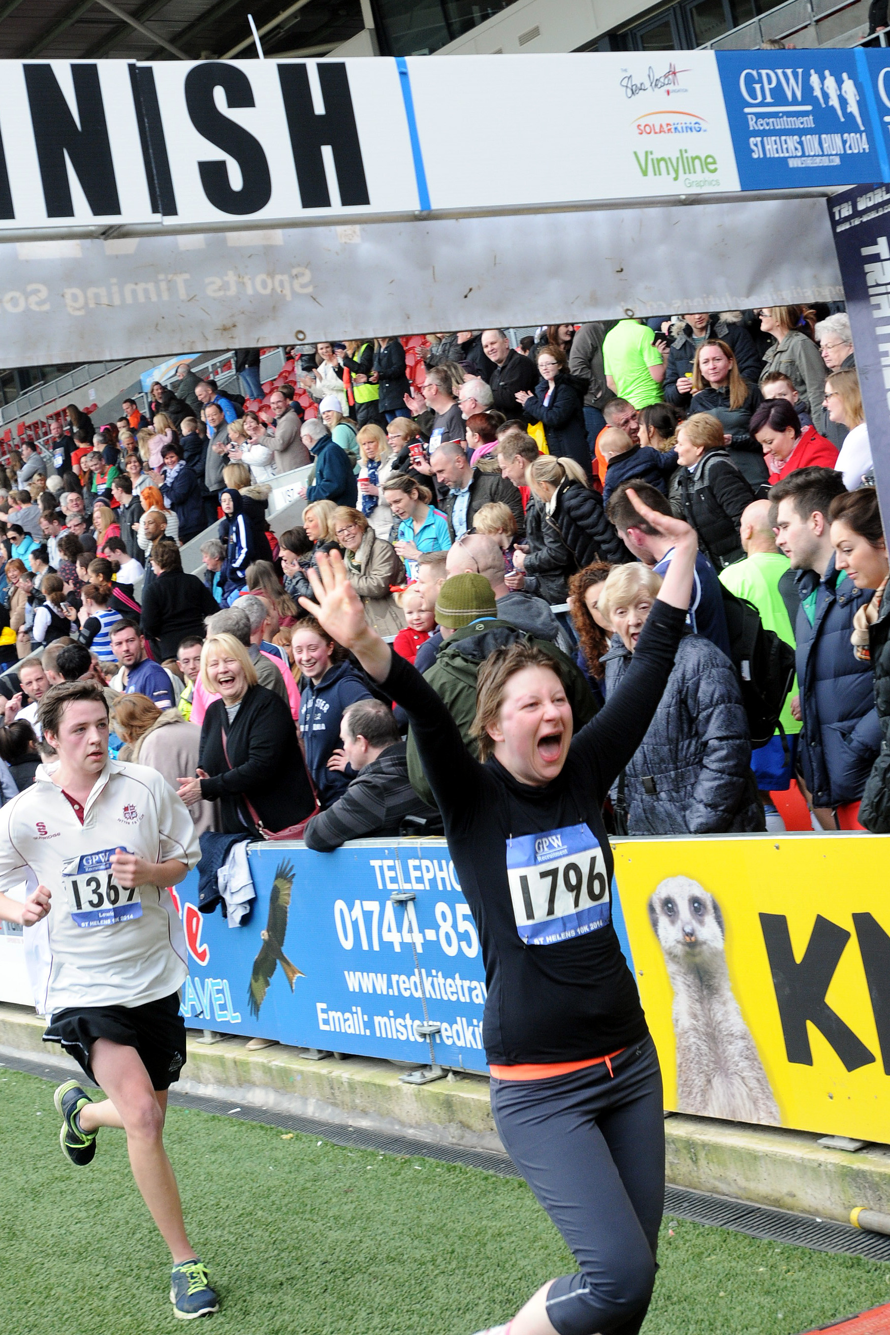 Finishing with a flourish: One runner is delighted t