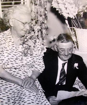 Caption: Charles Edward Slater and wife Jane pictured on their golden wedding anniversary in 1953.