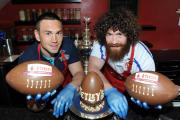 Kevin Sinfield, left, with Saints' Kyle Amor at a promotional event last year