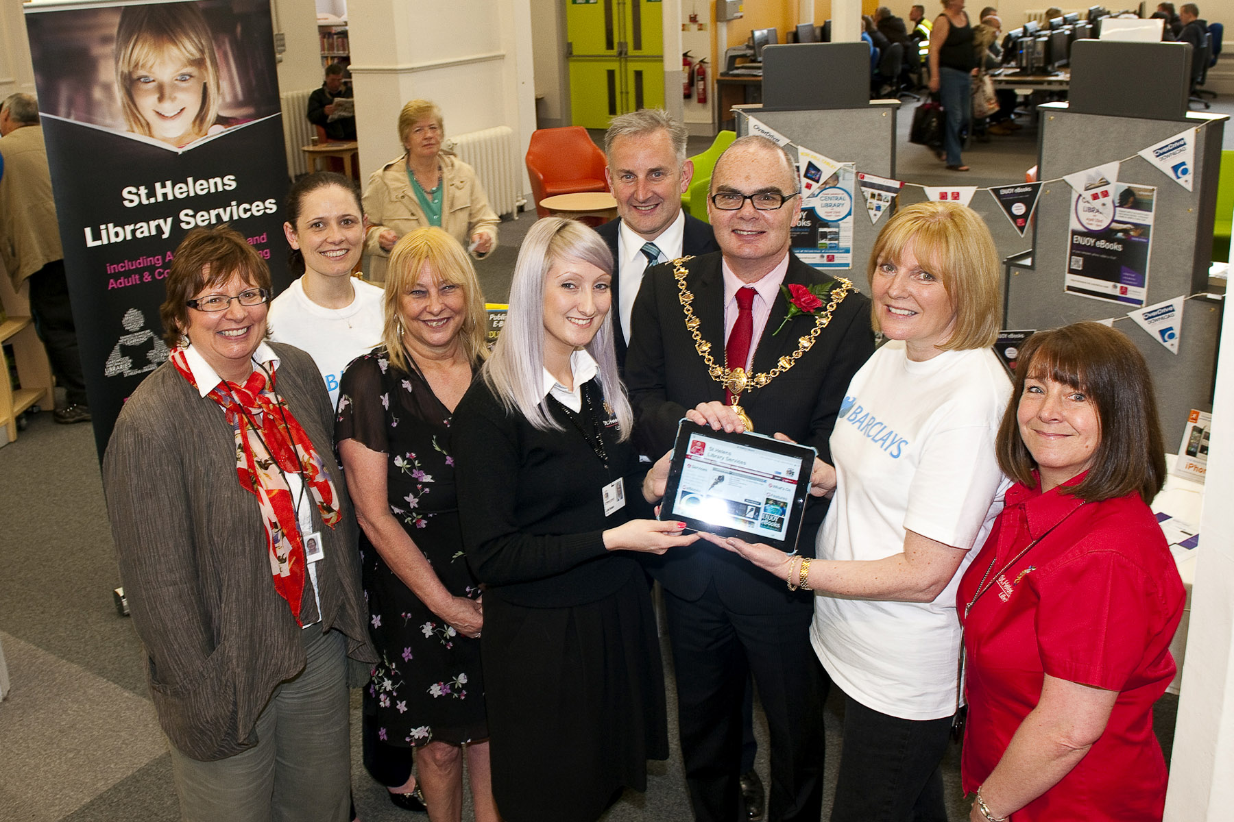 Sue Williamson, pictured far left, at the offiicial e-book launch today, with library staff and guests including the Mayor of St Helens Andy Bowden