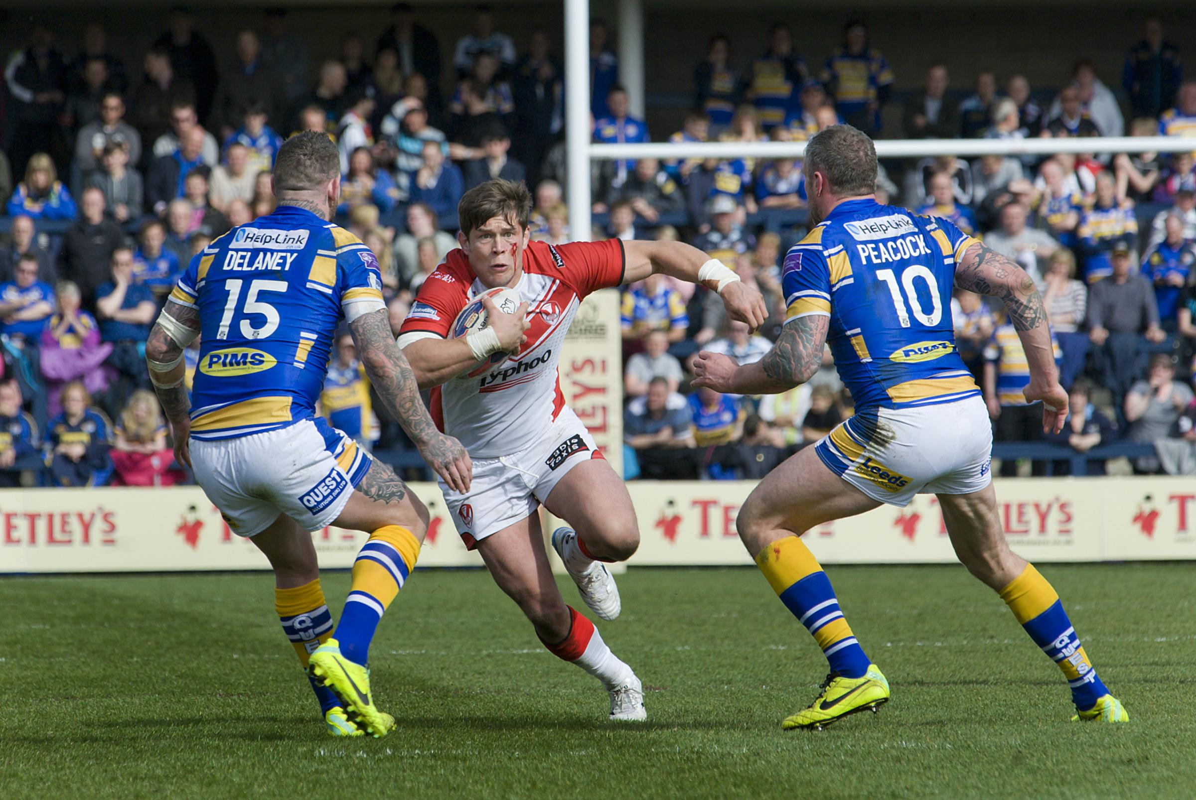 Louie McCarthy-Scarsbrook charges in at Leeds.
