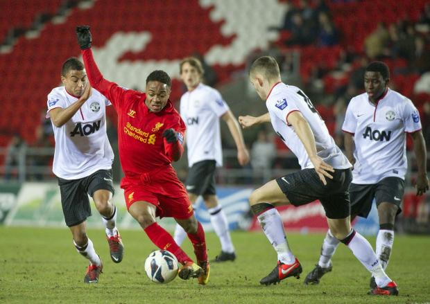 Raheem Sterling in action at Langtree Park