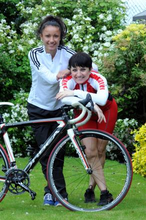 Karen, pictured with daughter Chelsea, will be supported by her family as she tackles two stages of the Tour                    DGJ130514