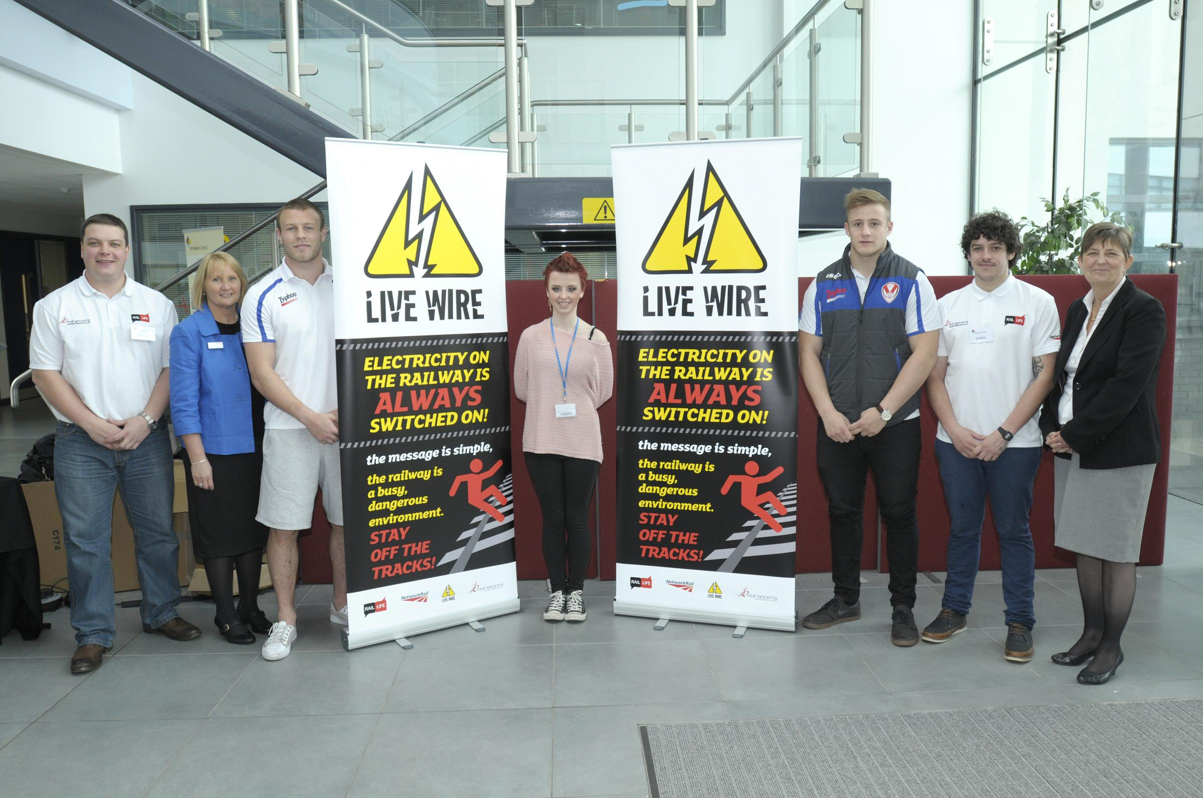 From left, Phil Fitton of PDF Sports, Janet Clark from Network Rail, Saints player Josh Jones, student Chloe Westhead, Saints' Greg Richards, Nick Holt, PDF Sports, and college principal Dr Jette Burford attended the campaign launch
