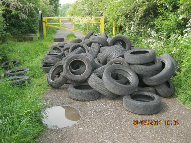 These are some of the piles of tyres that have been dumped across St Helens