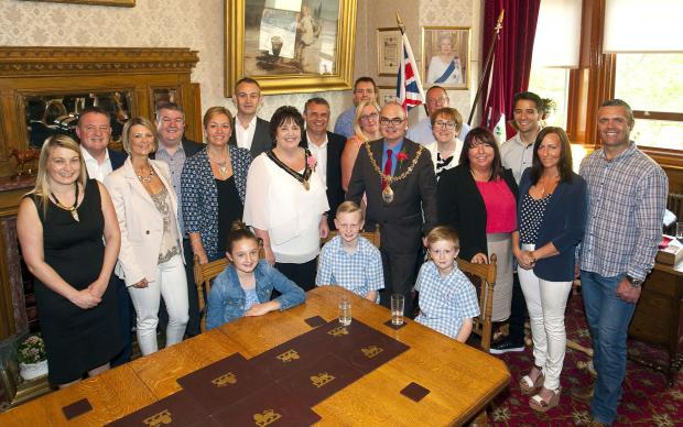 Steve Prescott's wife Linzi and their sons Koby and Taylor welcomed the walkers and members of the foundation to the mayor's parlour