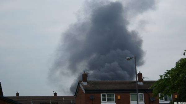 St Helens Star: The thick smoke from the plastic fire shown above Merton Bank in these pictures taken by Star contributor Robbob