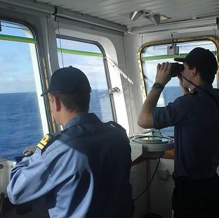 Crew on board survey ship HMS Echo in the southern Indian Ocean helping in the search for the missing Malaysia Airlines flight MH370 (Ministry of Defence/PA)
