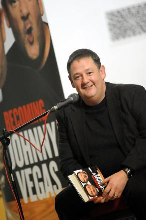 Johnny Vegas in a book reading at St Helens Town Hall