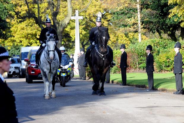 Mounted officers from Merseyside Police at a ceremony in St Helens to honour the memory of constable murdered there in 1893.