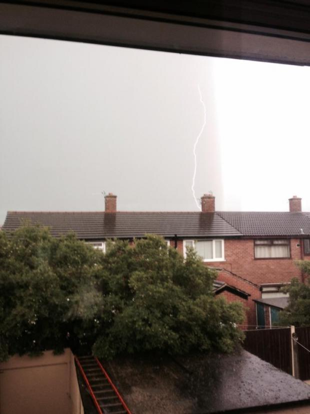 St Helens Star: A bolt lights up the skies in Thatto Heath in a picture Lisa Preston shared on our Facebook page