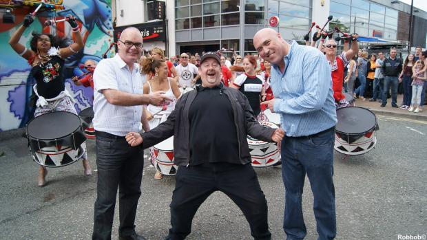 St Helens Star: A TRIUMPH: Johnny Vegas - who was a keen supporter of the festival - pictured with organiser Paul Griffiths and the then Mayor Andy Bowden