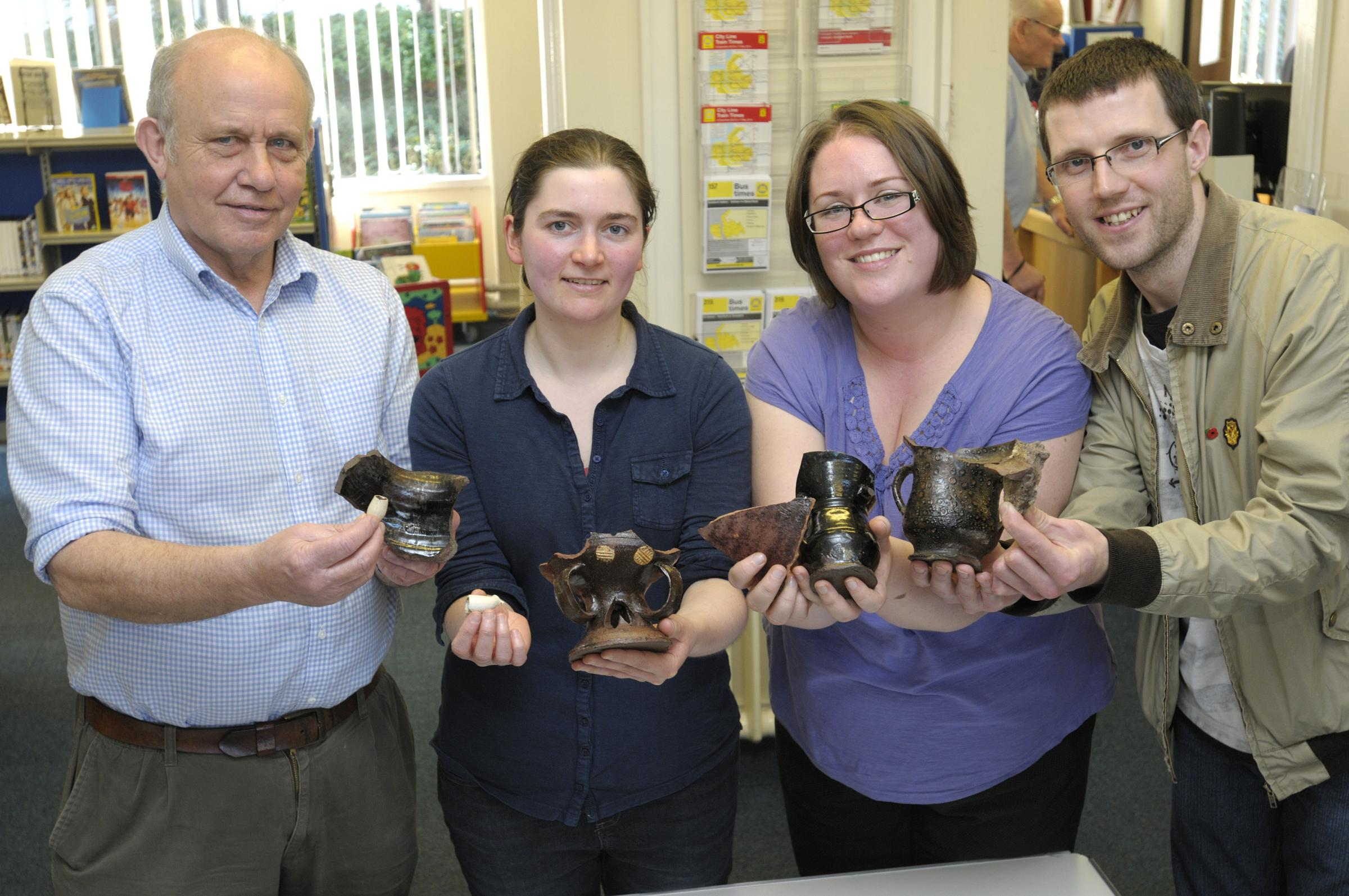 Martin Cox, Samantha Rowe, Kerry Massheder and Adam Fraser with some of the finds fr