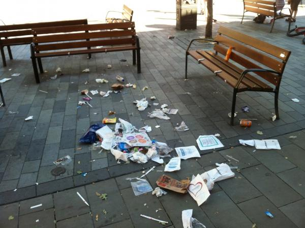Church Square filled with litter after strike
