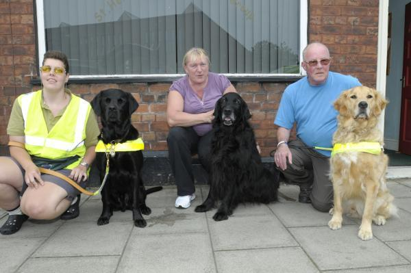 From left, Anne Richardson with Solo, Louise Brackley with Jaydee and Bernie with his dog Byron                                IPQP2714