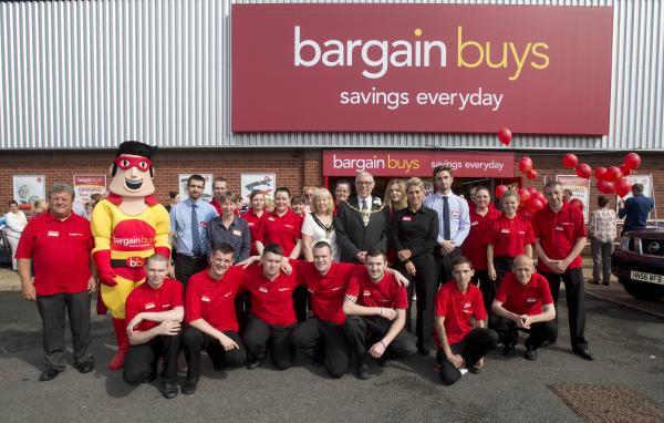 The team at Bargain Buys with the mayor and mayoress