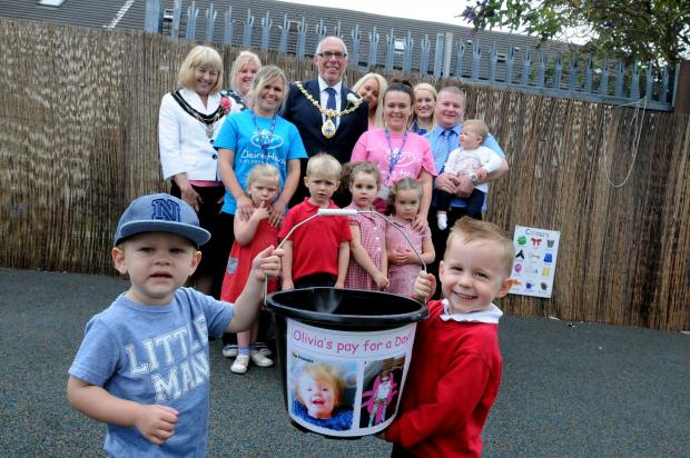 Toddling for Olivia... the mayor and mayoress joined the little walkers on the sponsored event