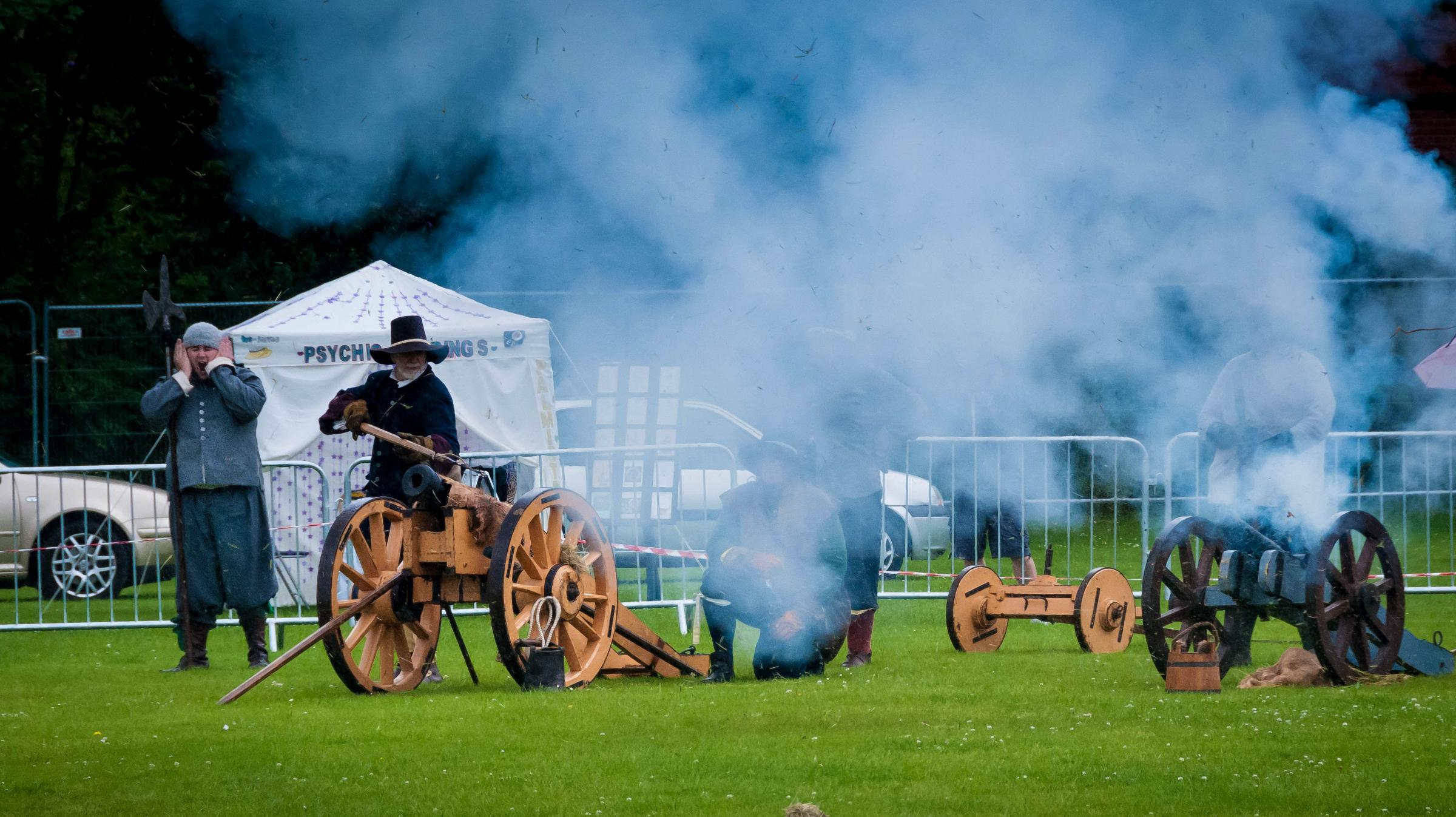 A display by the English Civil War Society depicting the battle at the Winwick Carnival 2014