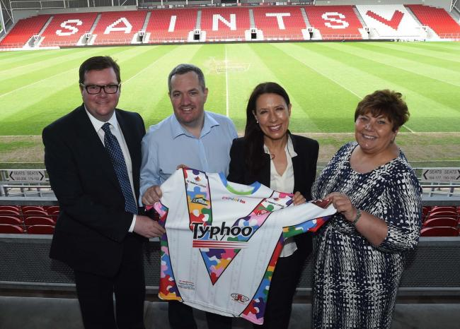 Conor McGinn, MP for St Helens North, Mike Rush, CEO at St Helens RFC, Debbie Abrahams MP, Shadow Minister for Disabled People and Marie Rimmer, MP for St Helens South and Whiston