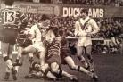 Roy Haggerty and Barry Ledger playing against Featherstone Rovers