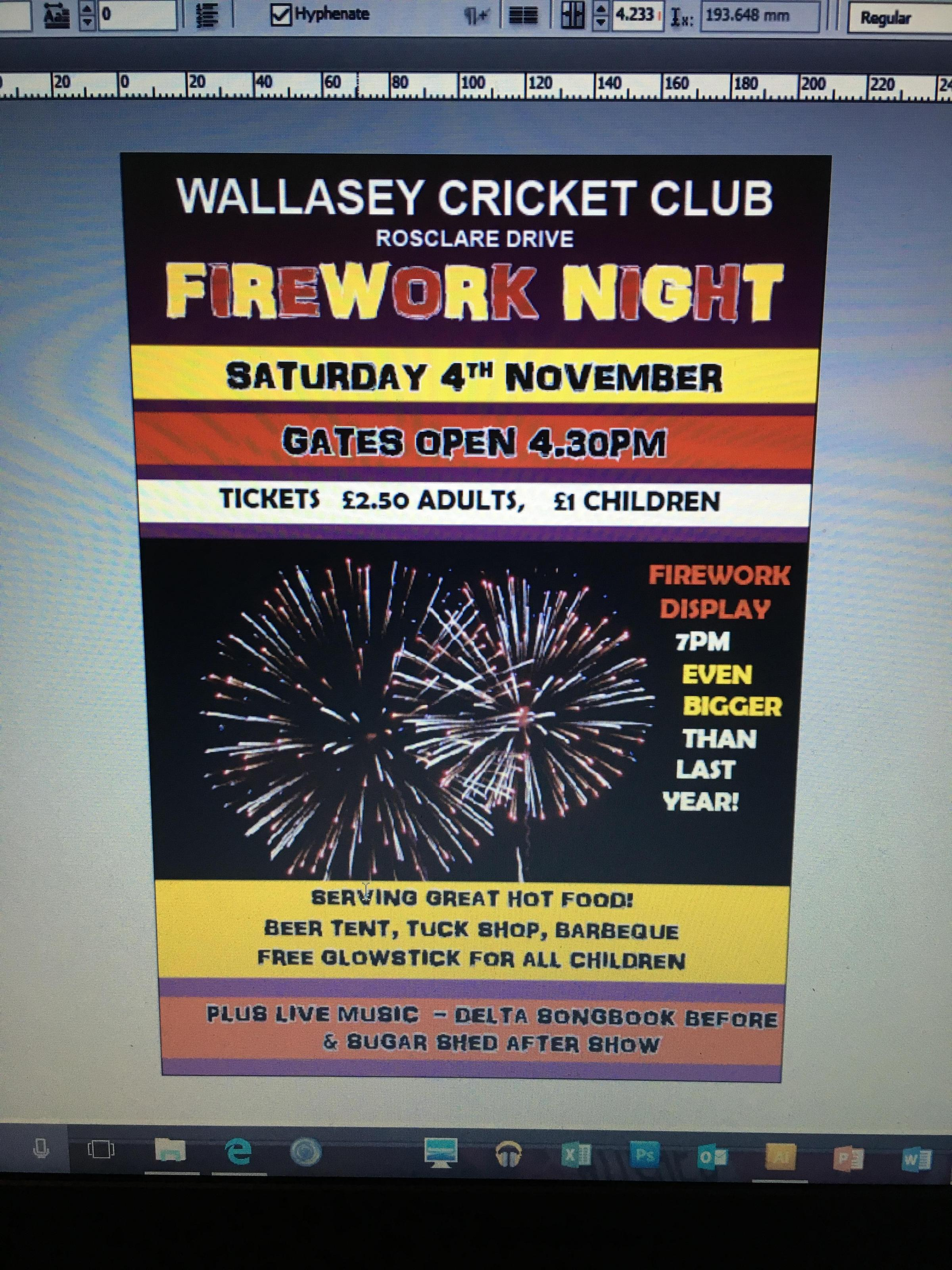 Wallasey Cricket Club Firework Night