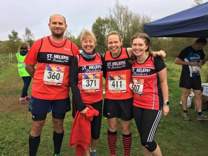 Gary Eccles, Carol Foster, Nicola Howath and Kerry Riley at the five-mile race, Colliers Moss.