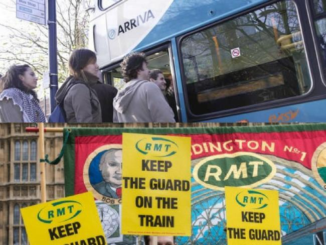 Commuters face misery and disruption today as bus drivers and train workers go on strike