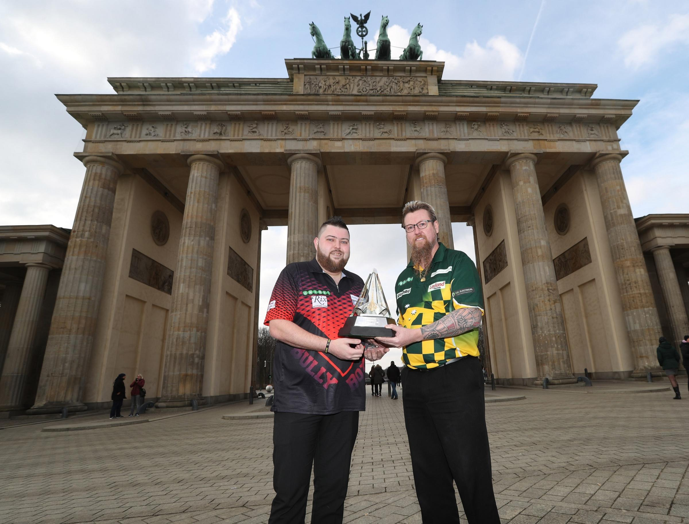 Michael Smith and Simon Whitlock in Berlin. Picture: Lawrence Lustig