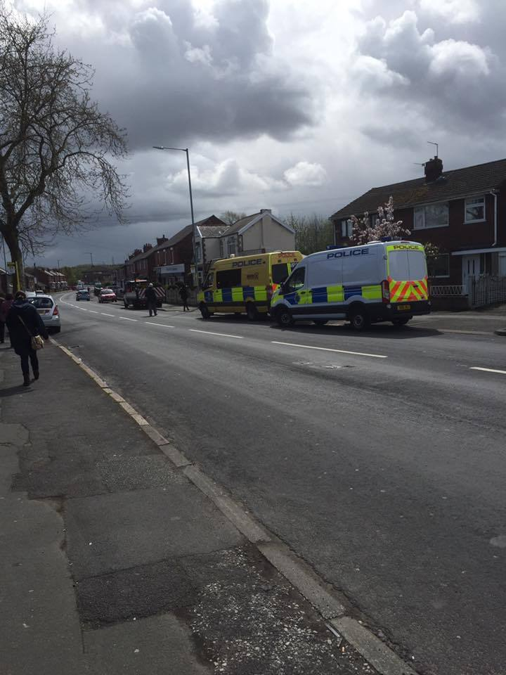 Police vehicles seen in Parr today Pic: Keith Roberts