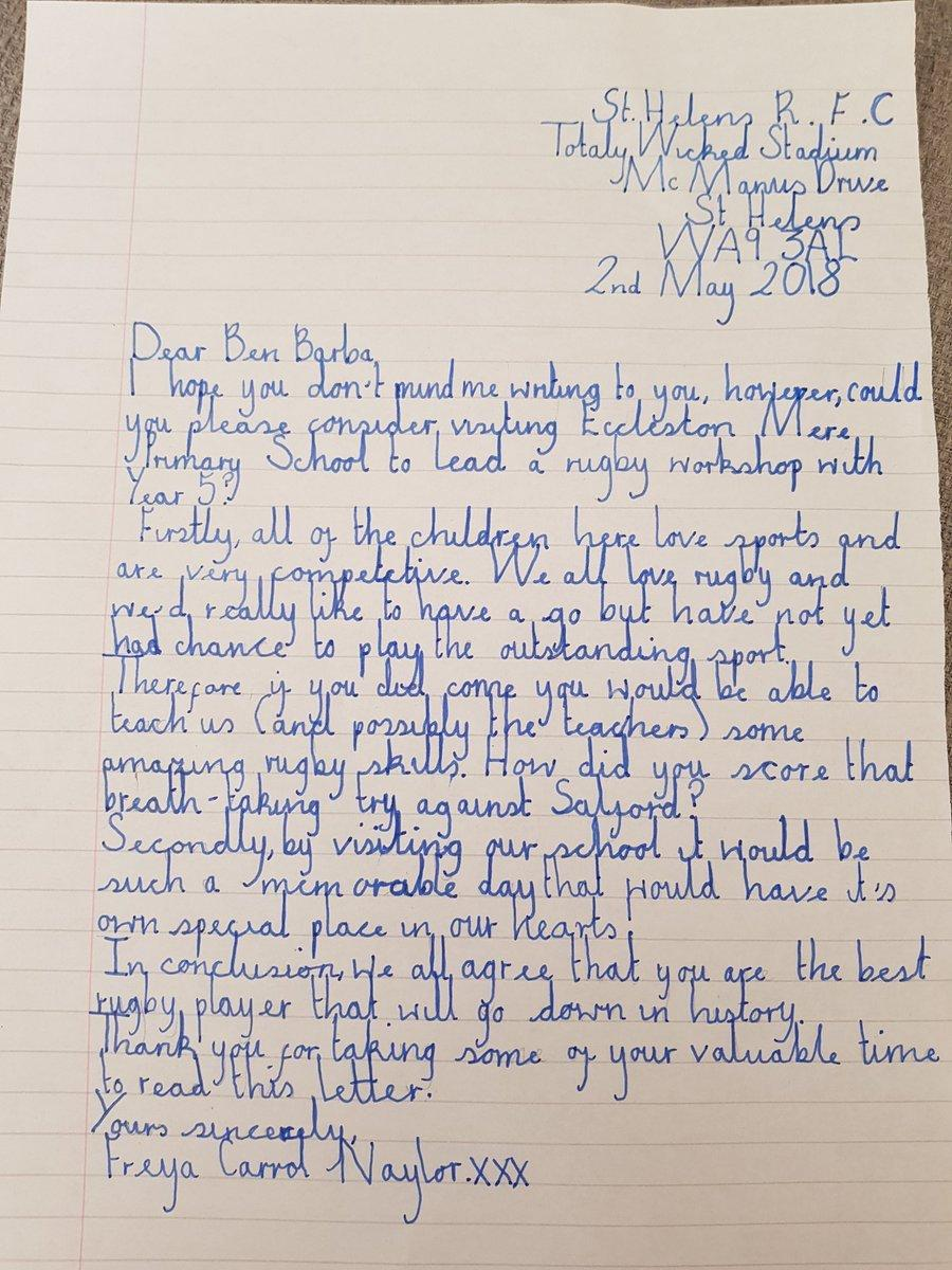 Eccleston Mere Pupils Write To Ben Barba Asking Him To Visit St